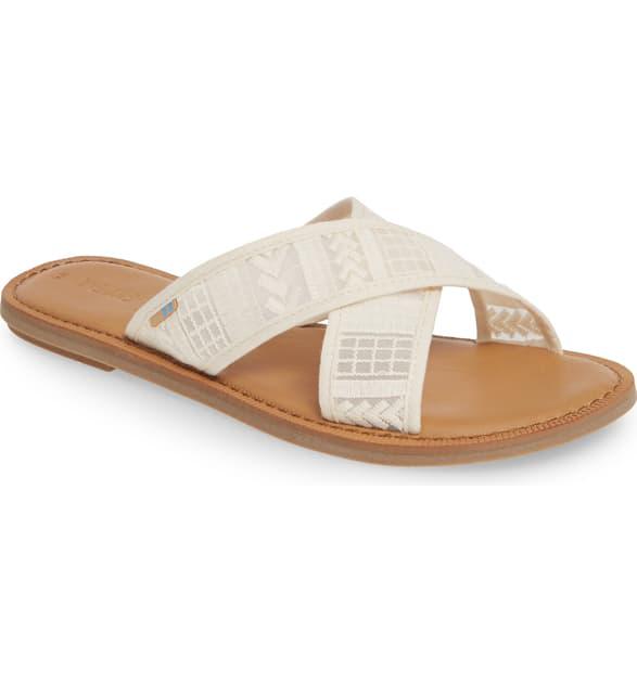 Toms Women's Viv Crisscross Slide Sandals In Natural Arrow Mesh Fabric