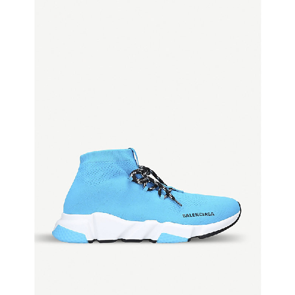 Balenciaga Speed Turquoise Stretch-Knit Sneakers In Blue