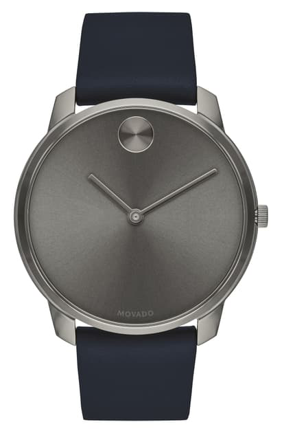 Movado Bold Thin Leather Strap Watch, 42mm In Blue/ Grey
