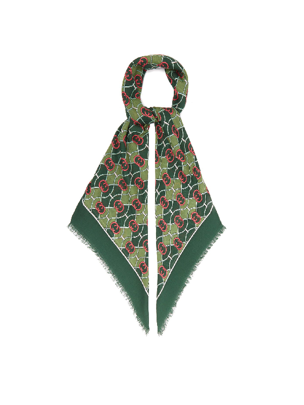 Gucci Gg Logo-print Wool-blend Scarf In Green