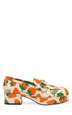 Gucci Strawberry-Print Leather Platform Loafers In Multi