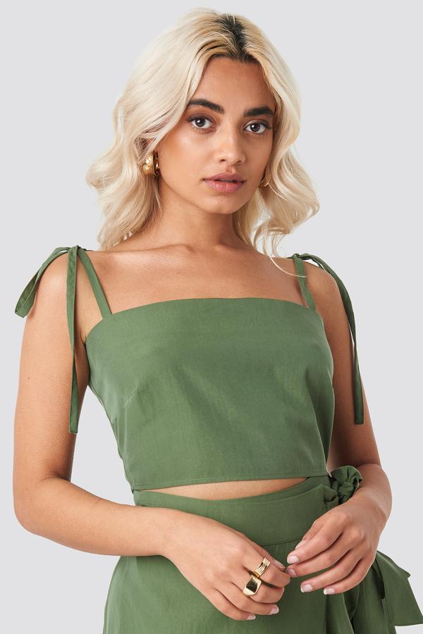 Afj X Na-kd Tie Strap Cami Top Green In Khaki