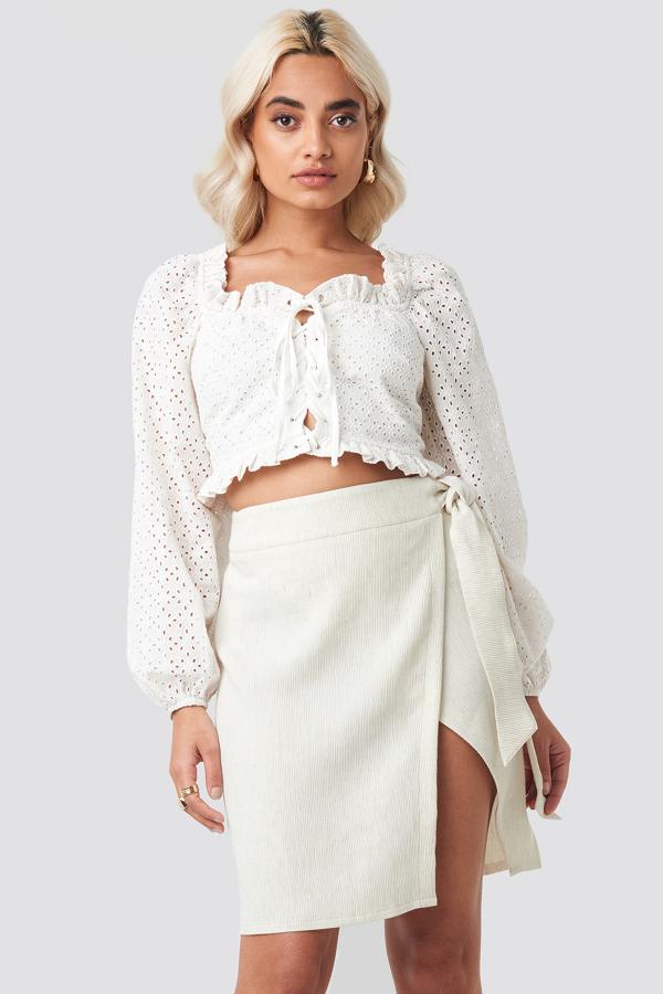 Afj X Na-kd Belted Wrap Mini Skirt - Beige In Stone