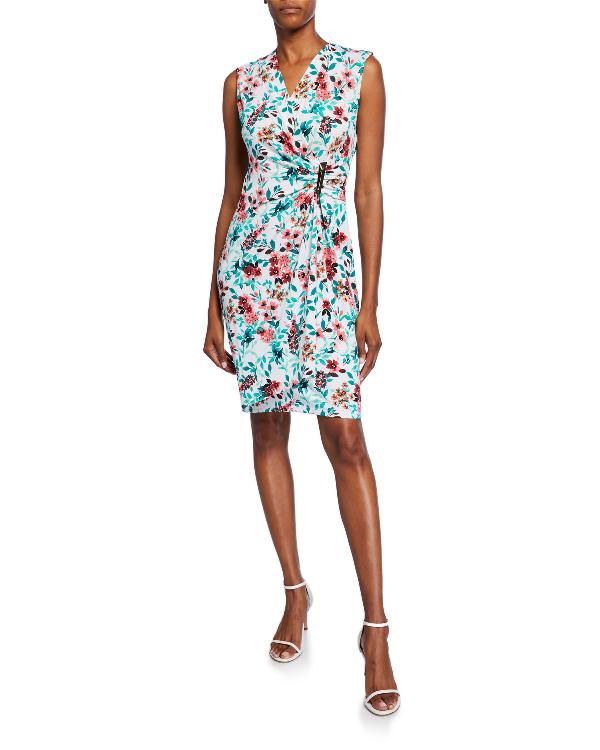 Calvin Klein Embellished Jersey Wrap Dress In Multi Pattern