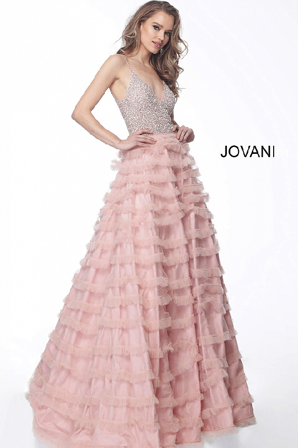 9012a714742 Jovani Sleeveless Beaded Bodice Evening Gown 61112 In Blush
