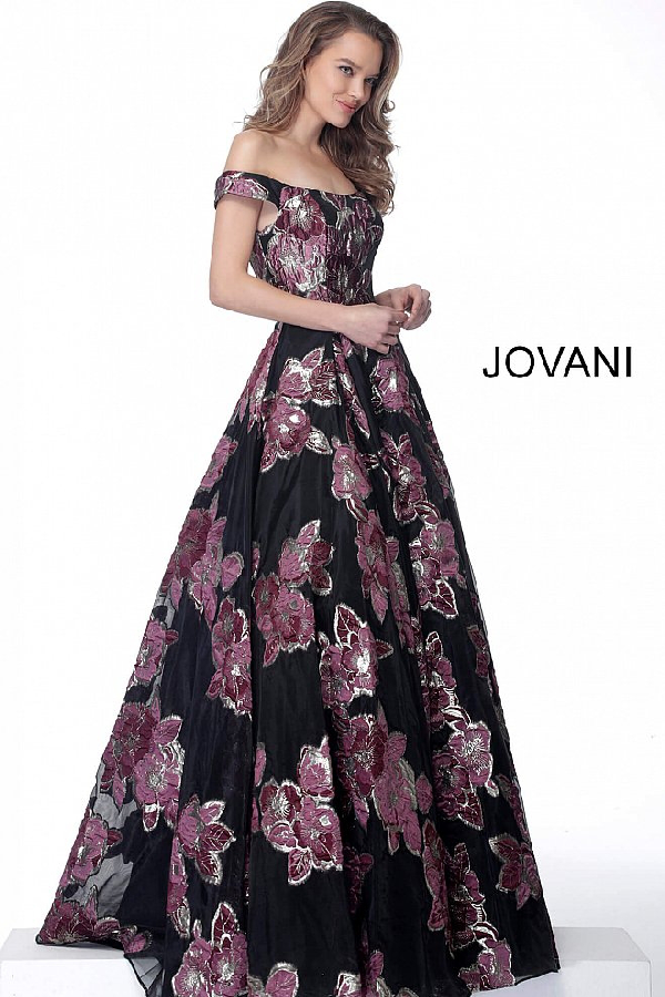 fe709a24142 Jovani Off The Shoulder Ball Gown In Print