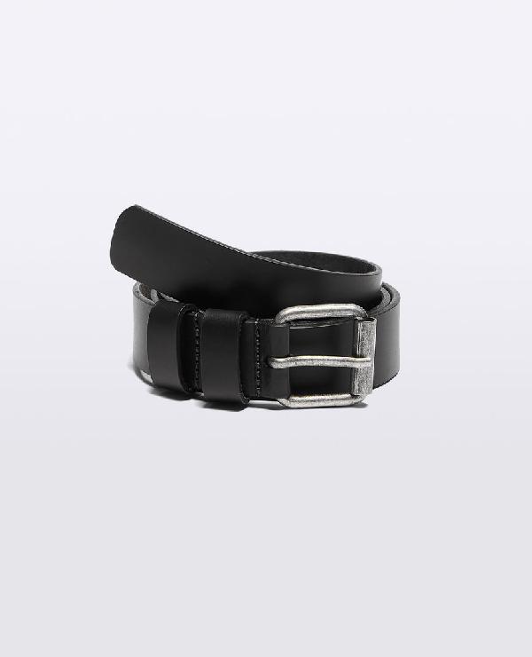 Aspesi Leather Belt In Black