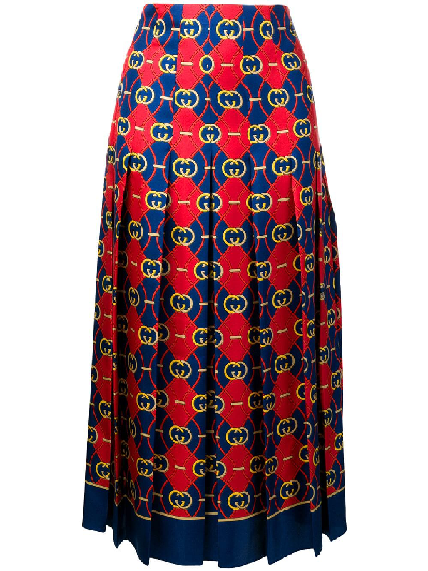 efbad182d Gucci Gg Logo Print Pleated Silk Twill Skirt In Red