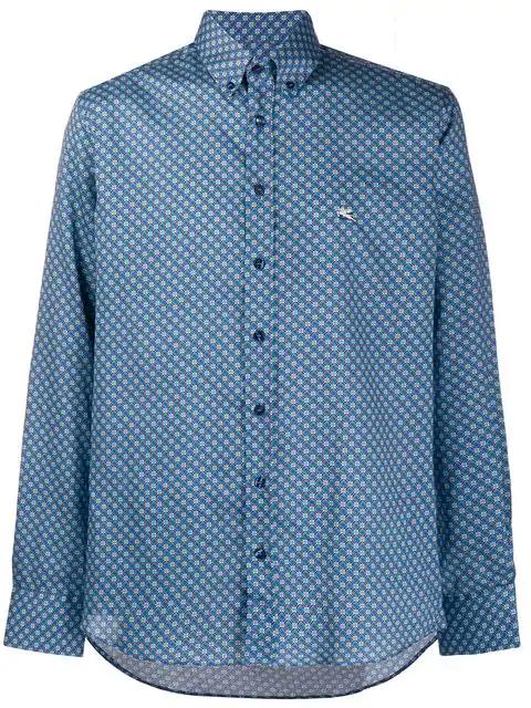 Etro Mosaic-printed Shirt In Blue