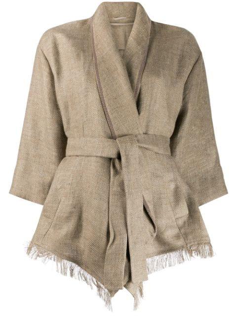 Brunello Cucinelli Wrap Style Jacket In Neutrals
