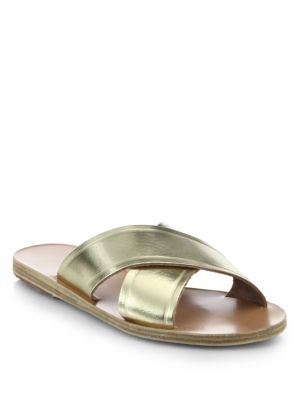 Ancient Greek Sandals Thais Metallic Leather Crossover Slides In Gold
