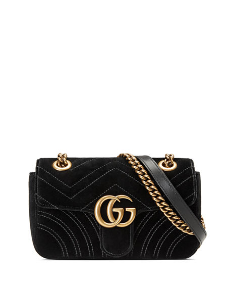 Gucci Gg Marmont Small Quilted Velvet Crossbody Bag In Black