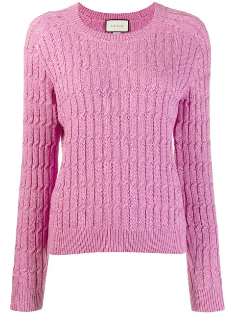 Gucci Cable Knit Sweater In Pink
