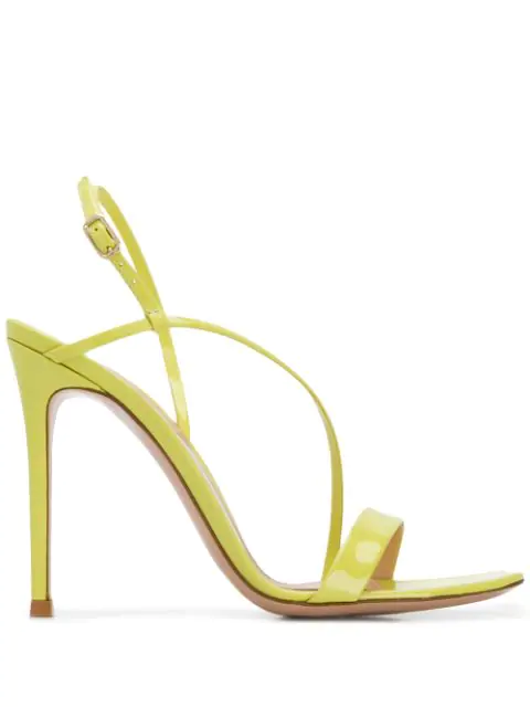 Gianvito Rossi Manhattan Neon Patent Leather Slingback Sandals In Yellow