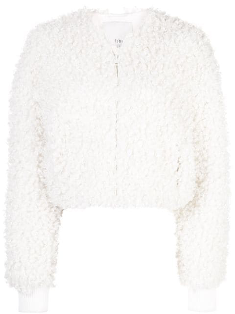 Tibi Faux Shearling Fur Cropped Bomber Jacket In Ivory