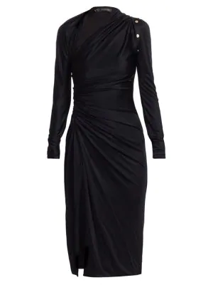Versace Viscose Jersey Cutout Front Slit Dress In Black