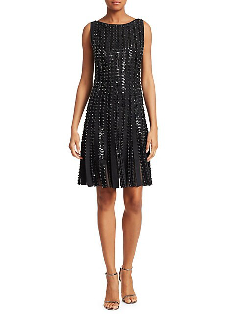 Zac Posen Women's Embroidered Radiant Stripe Knit A-line Dress In Black