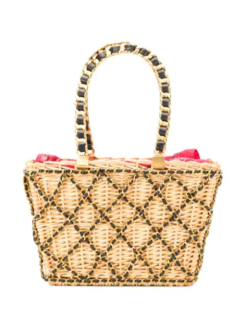 Pre-owned Chanel 1994 Chain Embellished Basket Bag In Neutrals