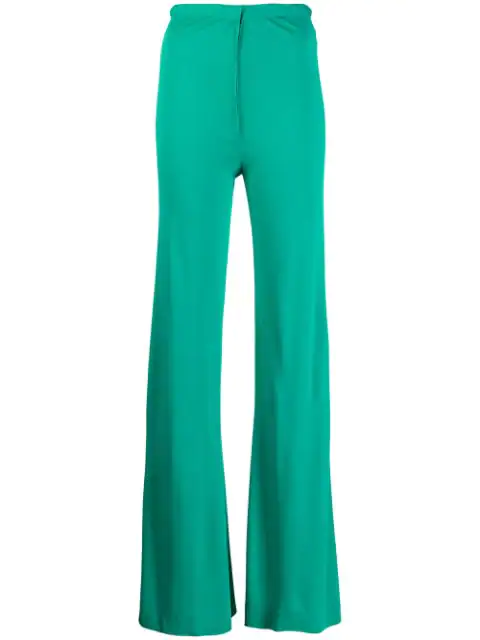 Pre-owned A.n.g.e.l.o. Vintage Cult 1970's Flared Trousers In Green