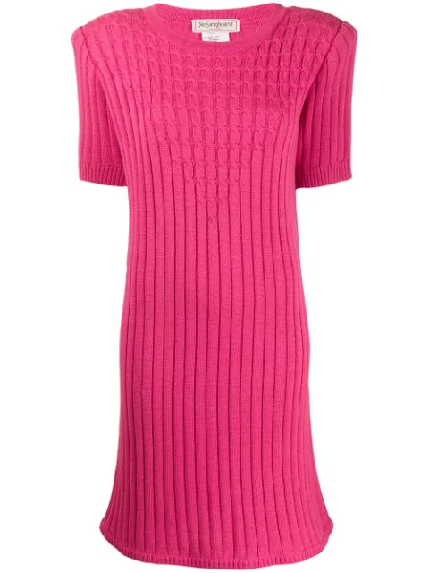 Saint Laurent 1980's Cable Knit Ribbed Dress In Pink