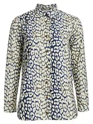 da2117488ce8 Ganni Leopard-Print Cotton Poplin Shirt In Total Eclipse | ModeSens