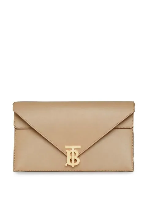 Burberry Small Leather Tb Envelope Clutch In Neutrals