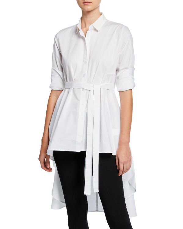 a119d2892a5 Dubgee By Whoopi Plus Size Button-Down High-Low Belted Cotton Poplin Tunic  In