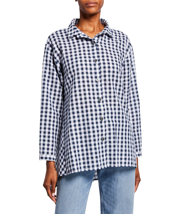 f88bdbb9ada Dubgee By Whoopi Plus Size Gingham Seersucker Button-Front Easy Shirt In  Navywhite