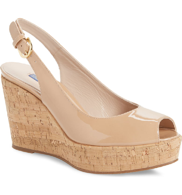 Stuart Weitzman Women's Jean Peep Toe Platform Wedge Sandals In Adobe Patent