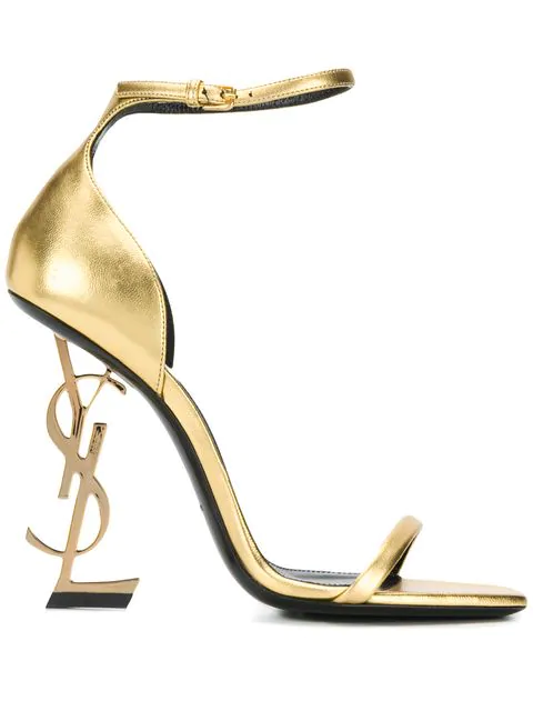Saint Laurent Opyum Sandals With Gold-Toned Heel In Smooth Leather In 8030 Oro
