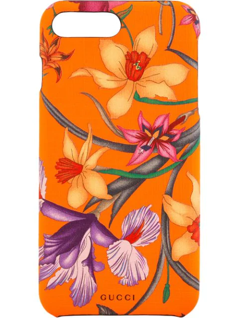 Gucci Iphone 8 Plus Case With Flora Print In Orange