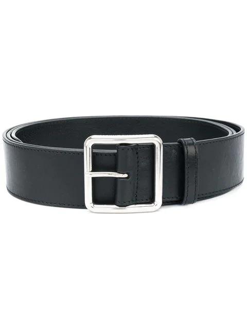 Alexander Mcqueen Short Leather Belt In Black