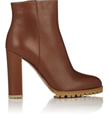 Gianvito Rossi Leather Side-Zip Ankle Boots - Luggage