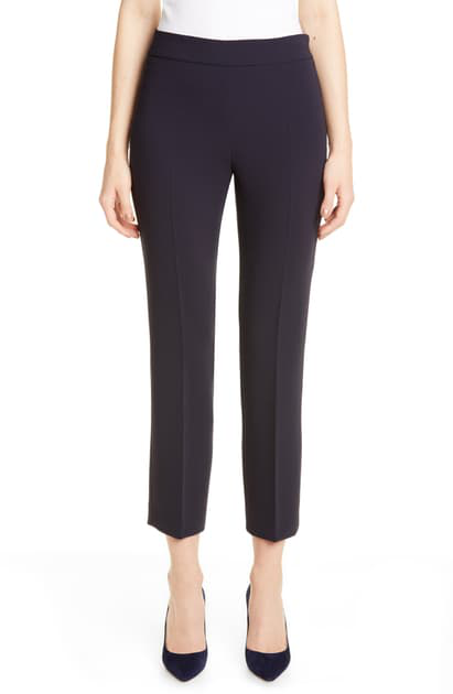 Max Mara Guglia Cropped Cady Pants, Blue In Navy