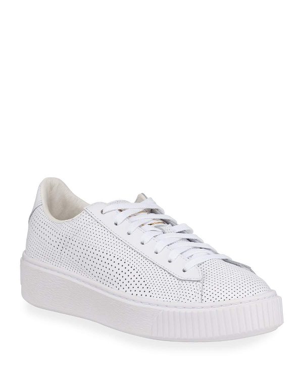 Puma Basket Low-Top Perforated Leather Platform Sneakers In White Gold