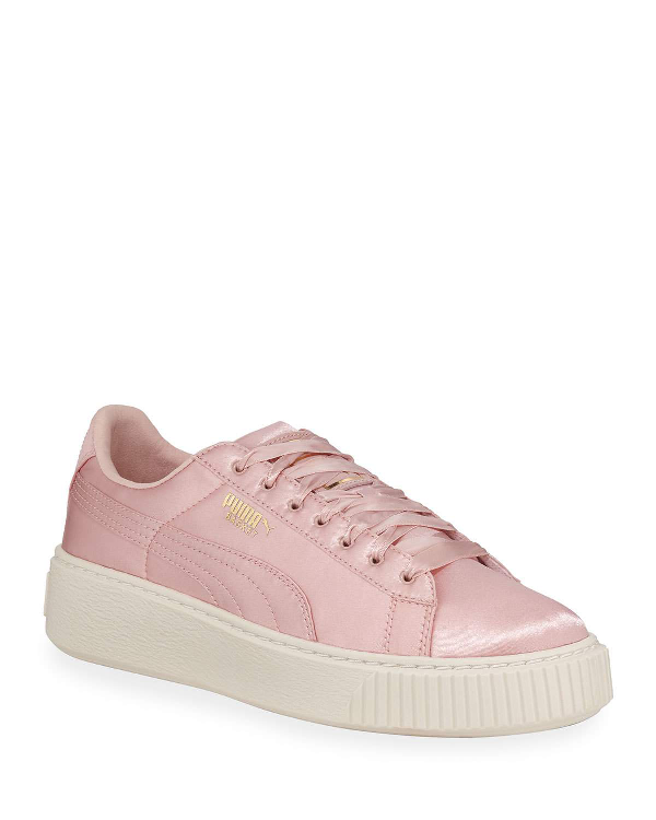 Puma Basket Satin Low-Top Platform Sneakers In Silver Pink Gold