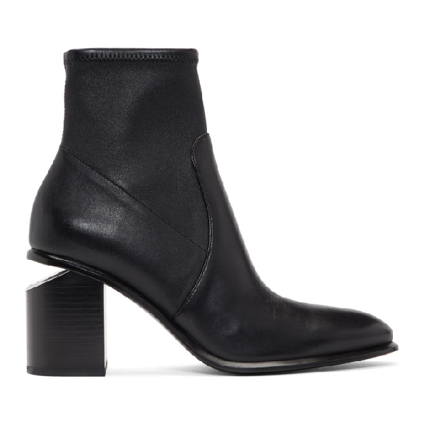 Alexander Wang Anna Rose Gold & Stretch-leather Sock Boots In 001 Black