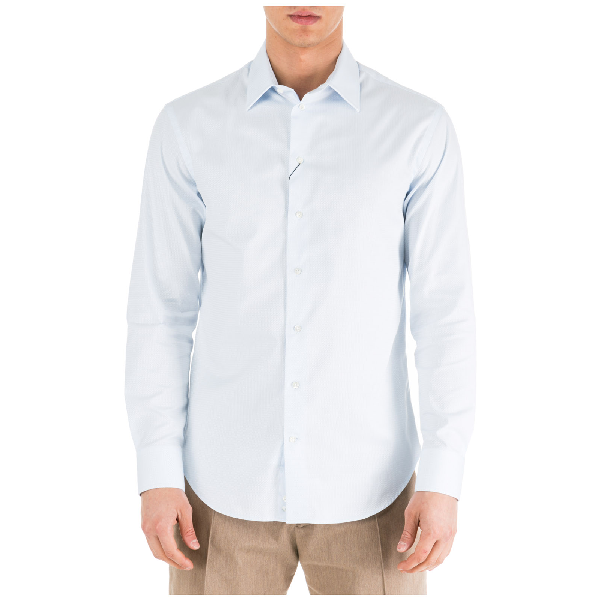 Emporio Armani Men's Long Sleeve Shirt Dress Shirt In Light Blue