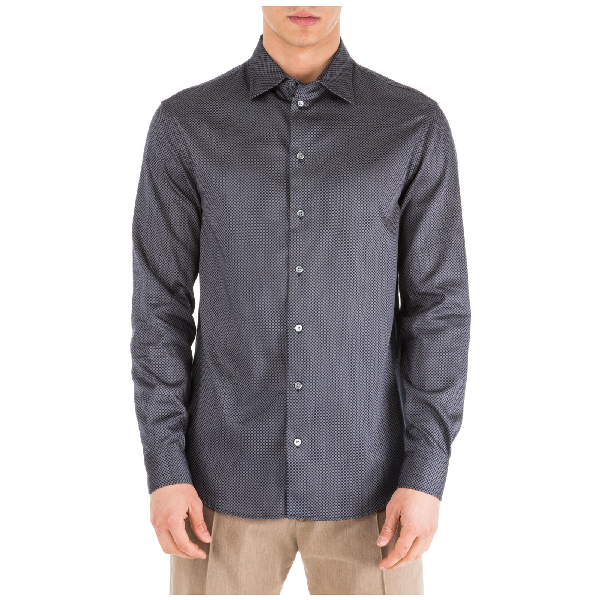 Emporio Armani Men's Long Sleeve Shirt Dress Shirt In Blue