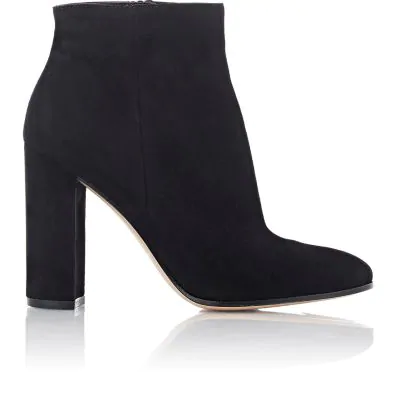Gianvito Rossi Suede Side-Zip Ankle Boots - Black