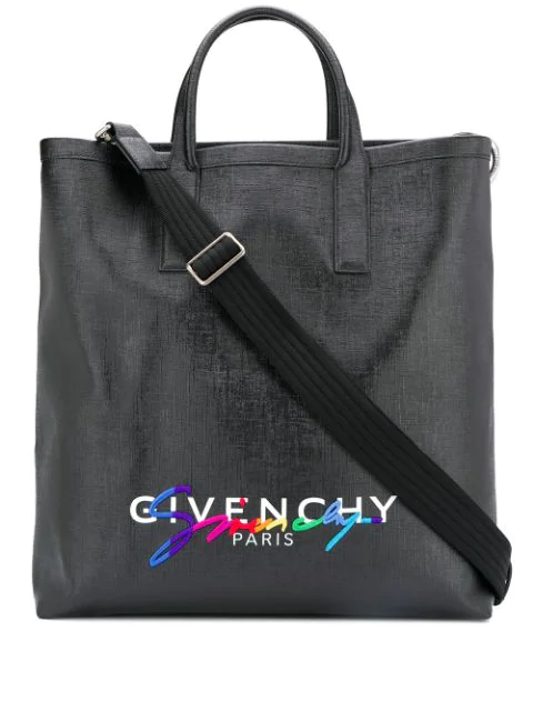 Givenchy Tag Printed Leather Tote In Black