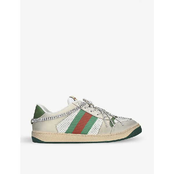 Gucci Virtus Chain-Embellished Distressed Leather And Textile Trainers In White/Comb