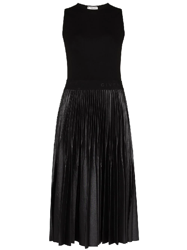 Givenchy Black Faux-leather And Jersey Midi Dress