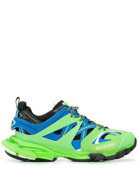 Balenciaga Track Nylon And Mesh Trainers In Green