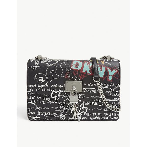 Dkny Elissa Leather Graffiti Logo Chain Strap Shoulder Bag, Created For Macy's In Black Graffiti