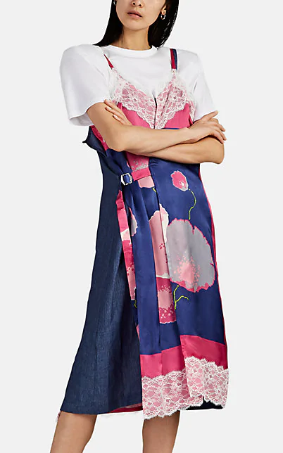 Lace Trimmed Floral Satin Linen Wrap Dress In Navy
