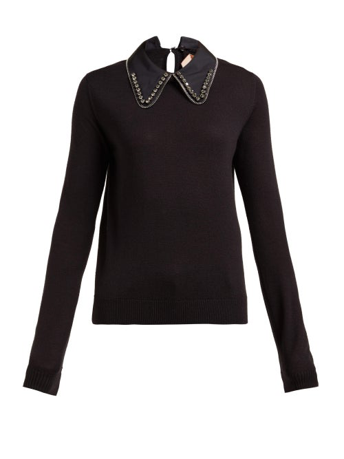 N°21 No. 21 - Embellished Collar Wool Blend Sweater - Womens - Black