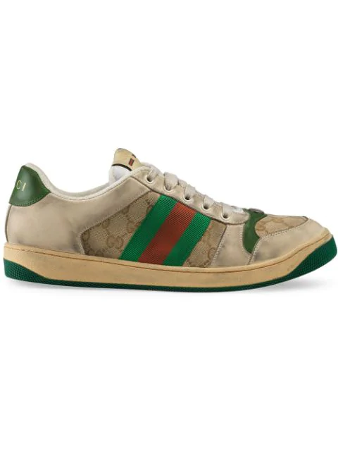 Gucci Virtus Gg Distressed Leather And Textile Trainers In Neutrals