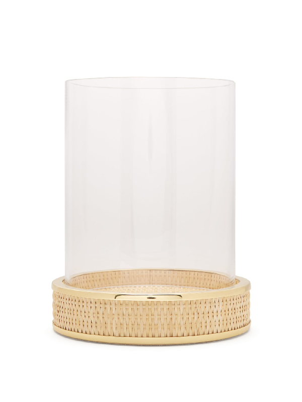 Aerin Colette Large Glass And Woven-cane Hurricane In Cream