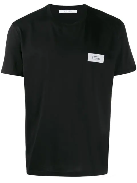 Givenchy Atelier Logo Patch Cotton-Jersey T-Shirt In 001 Black